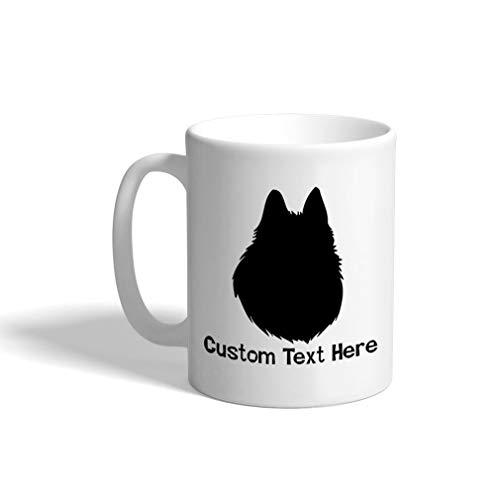 Custom Funny Coffee Mug Coffee Cup Belgian Shepherd (Tervuren) Silhouette White Ceramic Tea Cup 11 OZ Personalized Text Here ()