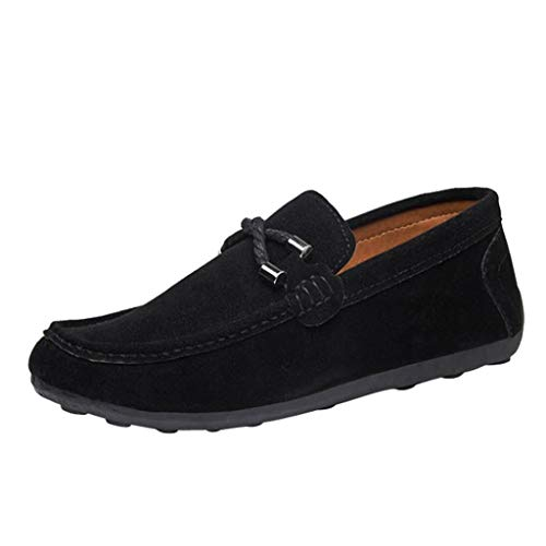 Alpargatas Zapatos Zapatillas Hombres Mocasines QinMM Plano Gamuza Negro sólido de de para Casual xPBwaqTzP
