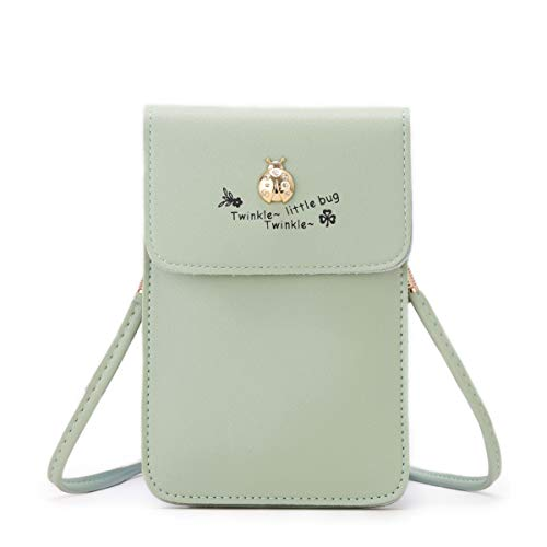7cf58ec9a8fc Women Small Crossbody Bag - Cell Phone Purse Smartphone Wallet Bags  (Green-Ladybug)
