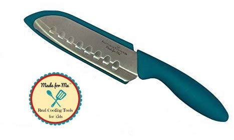 Beginner's Chef Knife for Kids - TEAL OR RED - Stainless Steel/Parents Choice for Safety & Design! An excellent culinary educational cooking and baking gift for children, boys & girls!
