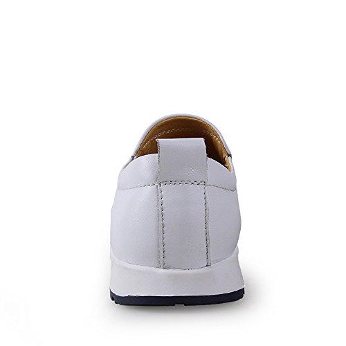 EU Forrado shoes Penny 43 Mocasines Color on Vamp tamaño Conducción los Goma Mocasines de Slip Suave Hombres Zapatos Suela Cuero Blanco Casual Xiazhi de Barco Vare Negro 4nqdHx4