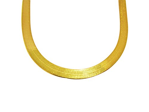 - US-Shopsmart 10K Yellow Gold Flexible Herringbone Chain 6 mm(0.23 in) Necklace (16 in)