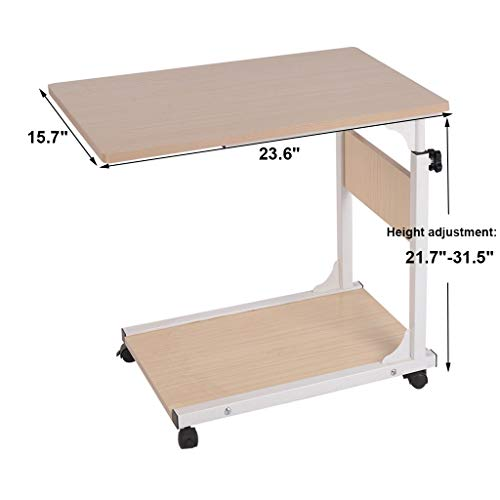 Side Table,Computer Desk, Lucoo Adjustable Laptop Stand Home Desk Student Writing Desktop Desk Economic Computer Desk Notebook Desk(Us Store) (White, 23.6 x 15.7 inches (60x40cm))