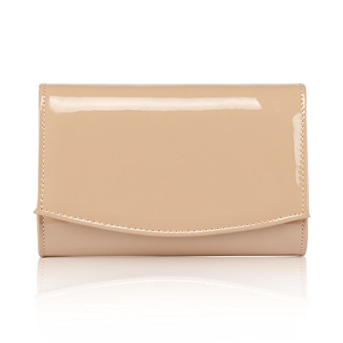 Women Patent Leather Wallets Fashion Clutch Purses,WALLYN'S Evening Bag Handbag Solid Color (New lightbrown) by WALLYN'S (Image #2)