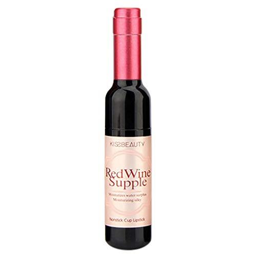 Lip Gloss Matte Hosamtel Liquid Lipstick Waterproof Durable Red Wine Bottle Long Lasting Non-Stick Cup Lip Glaze Lip Makeup ()