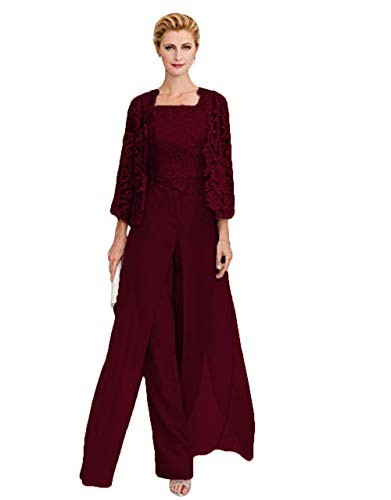 WZW Mother The Bride Dresses Front Slit Chiffon Pant Suit Three Pieces Mother of Groom Gown Corded Lace Burgundy