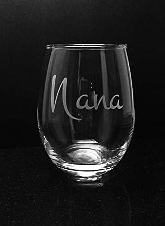 Copa de vino grabada para regalo de abuela para abuela de Nana, copa de vino personalizada, regalo para el día de la madre y la abuela