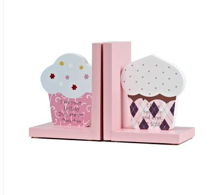 Wood Nursery Room Decorative Bookends Pink Flower/Guitar/AZ/Cupcake Bookends Baby Kids Gift Idea (Cupcake)
