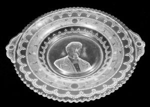 Aka Roman Medallion Pattern John Adams Pressed Glass Plate With Handles ()