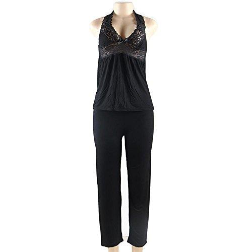 Myhope Ladies intimo collo rugiada pizzo cuciture casual cotone cinturino pigiama Pigiama aggiungere dimensione , xl