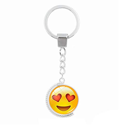 Fan-Ling Creative Funny Face Double-Sided Rotating Time Gemstone Metal Key Holder, Keychain,Key Ring, Key Chains,Cell Phone Chain,Glass Pendant Holder,Bag Pendant Car Accessory,Cute Ornaments (C)