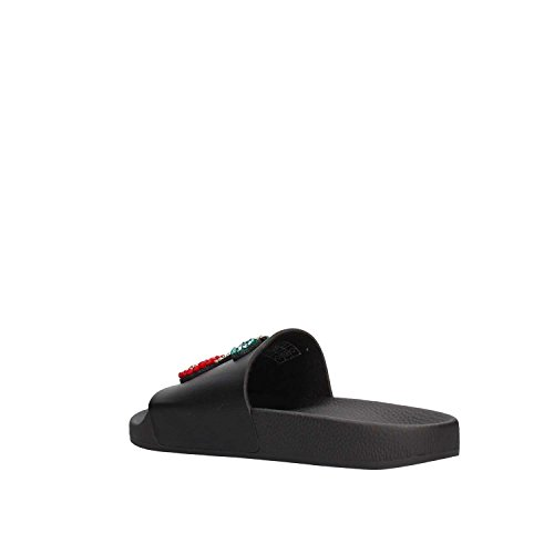 THE WHITE BRAND Women's Jewel Patch Cherrys Open Toe Sandals, Black Black (Black Black)