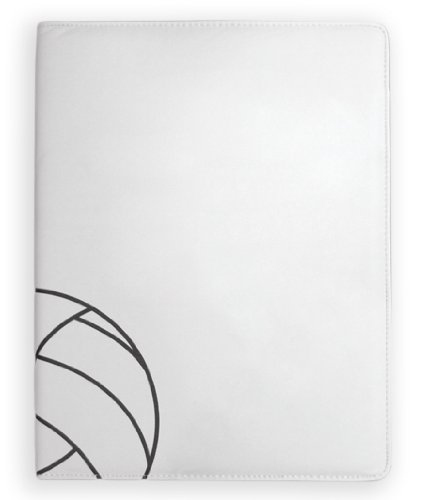 Zumer Sport Volleyball Leather Notepad Portfolio - Made with Actual Volleyball Materials - Large pad Agenda Planner Book - Ruled Note Paper - Pen Holder - Business Card Holder - White