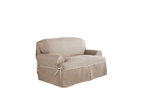 Serta Relaxed Fit Twill Furniture Slipcover for T-Love Seat, Taupe/Ivory by Serta