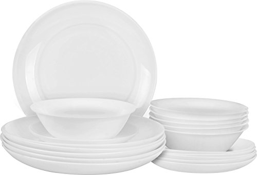 18 Piece Dinner Set Moonlight Shape - Heat Resistant Opal Glassware - Microwave/Oven Friendly - Dishwasher Safe - By Utopia Kitchen (Set Microwave Dinner)
