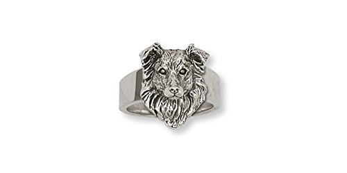 Border Collie Jewelry Sterling Silver Border Collie Ring Handmade Dog Jewelry BE1-R