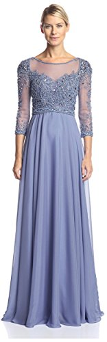 Terani Couture Women's 3/4 Sleeve Embellished Gown, Blue Stone, 2