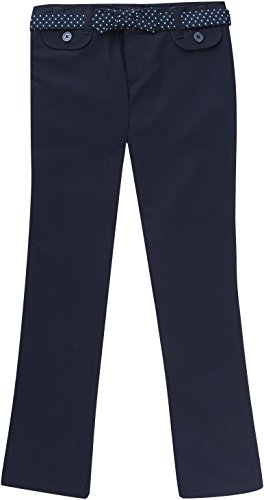 French Toast School Uniform Girls Twill Straight Leg Belted Pants, Navy, 12