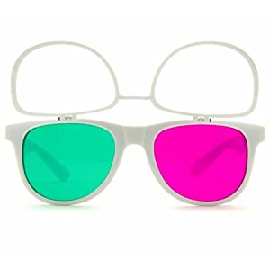 GloFX Flip Up 3Diffraction Glasses - White Flips Rave Prism Grating Diffraction w/ Anaglyph Anaglphic 3D