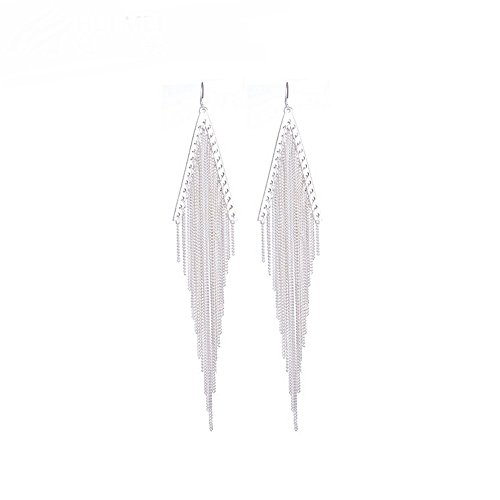 The Starry Night Silver Plated Multilayer Metal Chain Split Triangle Hanging Tassel Women Earring