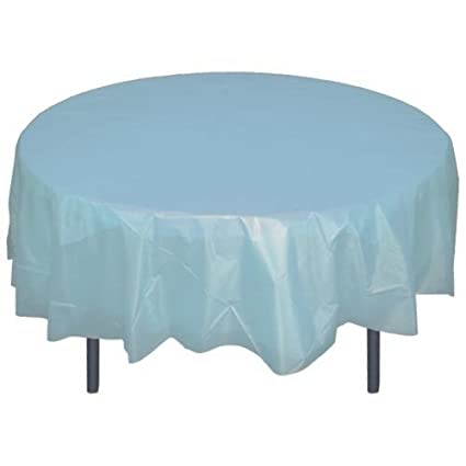 Exceptionnel 12 Pack Premium Plastic Tablecloth 84in. Round Table Cover   Light Blue