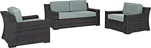 Crosley Furniture KO70098BR Beaufort 3-Piece Outdoor Wicker Seating Set, Brown with Mist Cushions (Patio Mist Loveseat)