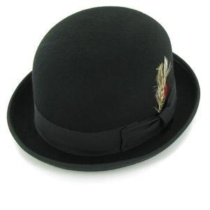 Belfry Deuce 100% Wool Felt Stingy Brim Men's Derby Bowler Hat in 4 Sizes and 2 Colors Large Black
