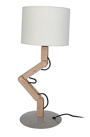 Tosel 63651 Lampe De Chevet Geri Abat Jour Coton 60 W E27 Bois