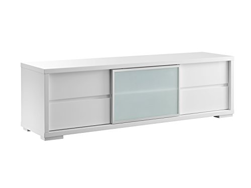 PINETO High Gloss White Lacquer Entertainment Center by Casabianca Home CB-302TV - PINETO High Gloss White Lacquer Entertainment Center by Casabianca Home ()