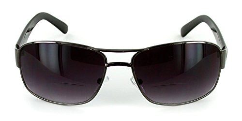 The Top Gun Unisex Aviator Tinted Bifocal Sunglasses for Men and Women +1.00 Black (Carrying Case - Male Shape And Sunglasses Face