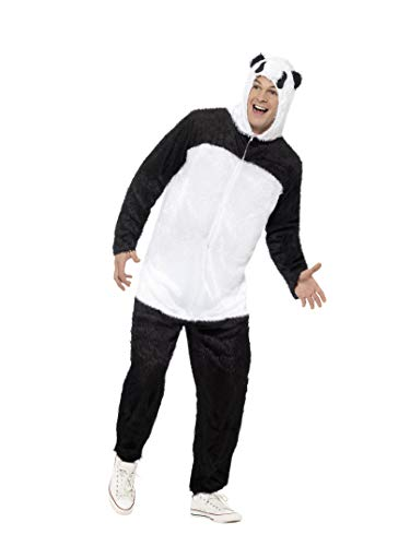 Smiffys Men's Panda Costume, Jumpsuit with Hood, Party Animals, Serious Fun, Size M, 22399 ()