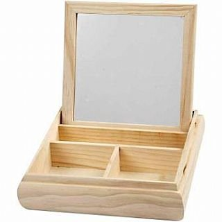 Mirrored Lid - Wood Jewellery Box & Mirrored Lid to Decorate   Wooden Shapes for Crafts