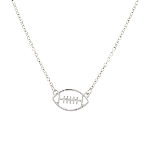 - Lux Accessories Silver Tone Womens Girls Open Cutout Football Pendant Necklace