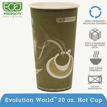 Eco-Products Evolution World 24% PCF Hot Drink Cups, 20oz, Gray, 50/Pack