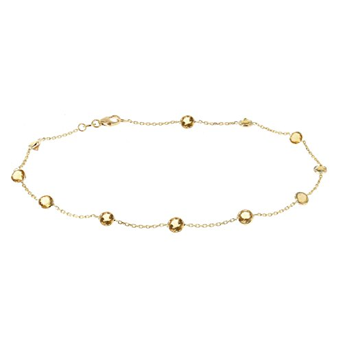 14k Yellow Gold Handmade Station Anklet With Citrine Gemstones 9 - 11 Inches by amazinite