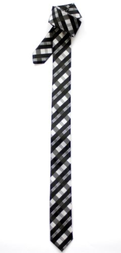 Retreez Tartan Check Patterns Woven Microfiber Skinny Tie - Black and Grey