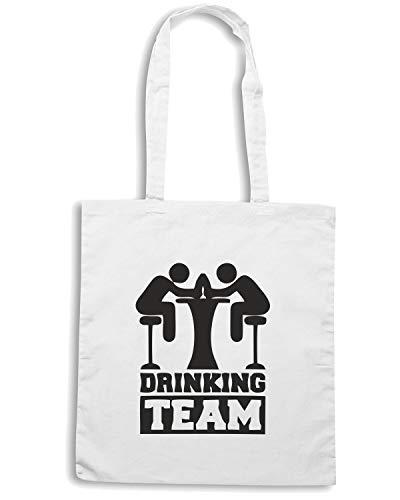 T-Shirtshock Borsa Shopper Bianca BEER0207 DRINKING TEAM (1)