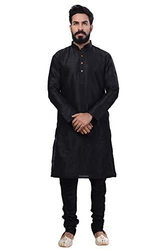 Rajwada Ethnic Bollywood Men Indian Kurta Churidar 2pc Suit's (X-Large (42), Black)