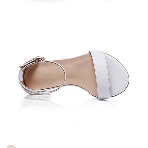 Sandalias De Verano Hembra Con Áspero Con Simples Zapatos Blanco