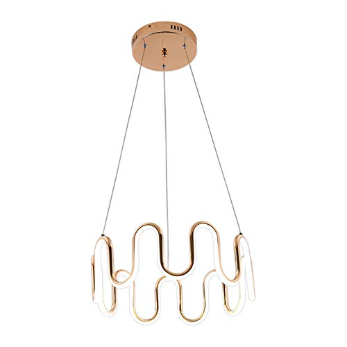- TopDeng LED Acrylic Wave Chandelier, 65w Ceiling Light Ring Creative Gold Light Fixture for Living Room Restaurant Kitchen island-42cm Warm White