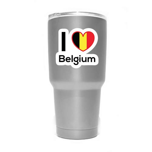 Love Belgium Flag Decal Sticker Home Pride Travel Car Truck Van Bumper Window Laptop Cup Wall - Two 3 Inch Decals - MKS0191
