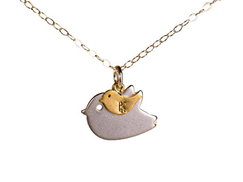 Mom and Baby Bird Personalized Initial Necklace