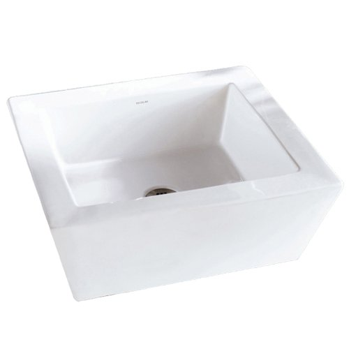 Decolav Vitreous China Pedestal - DECOLAV 1432-CWH Kloey Classically Redefined Square Vitreous China Above-Counter Vessel Sink with Overflow, White