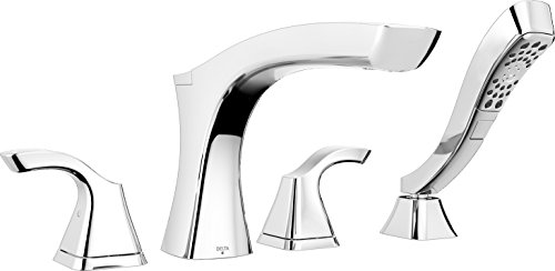Delta Faucet T4752 Tesla Roman Tub with Hand Shower Trim with H2Okinetic Technology, Chrome