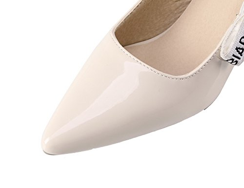 AllhqFashion Womens Pointed Closed Toe Kitten-Heels PU Pull-On Pumps-Shoes Beige oWBHwb