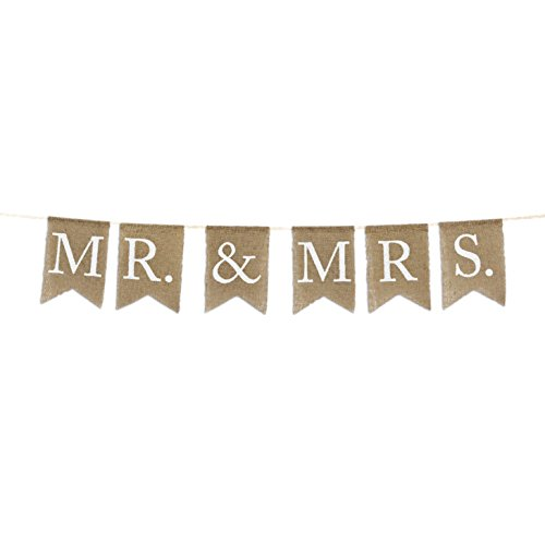 Andaz Press Real Burlap Fabric Pennant Hanging Banner Mr. & Mrs., Pre-Strung, No Assembly Required, 1-Set