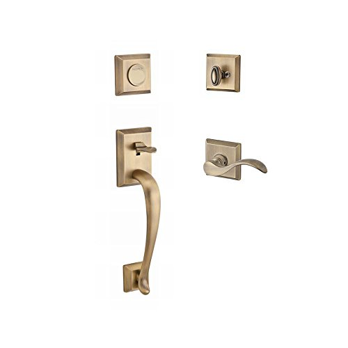 Rose Full Dummy Set - Baldwin FDNAPXCURRTSR049 Reserve Full Dummy Handleset Napa x Curve with Traditional Square Rose in Matte Brass & Black Finish Right hand
