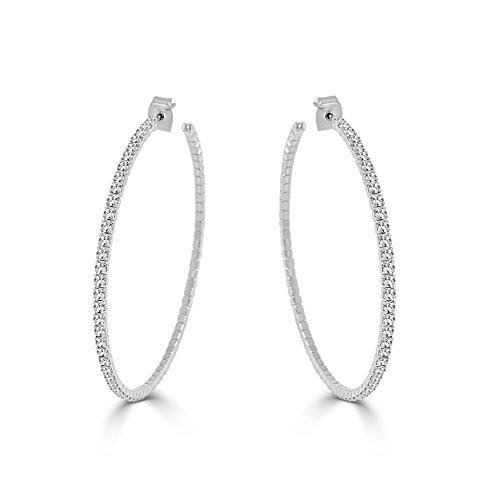Hoops Crystal Crystal Earrings - Sabrina Designs Lightweight Crystal Hoop Earring, LARGE -2.25