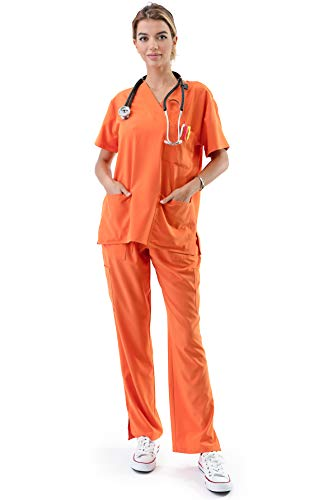 - BASIC APPAREL USA Medical Uniform Women's Medical Scrub Set Top and Pant (Orange, XXX-L)