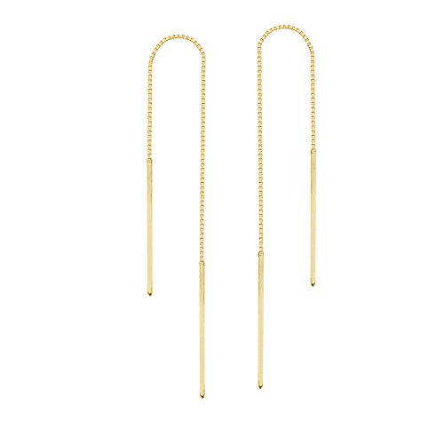 14K Yellow Gold Thin Bar Threader Earring
